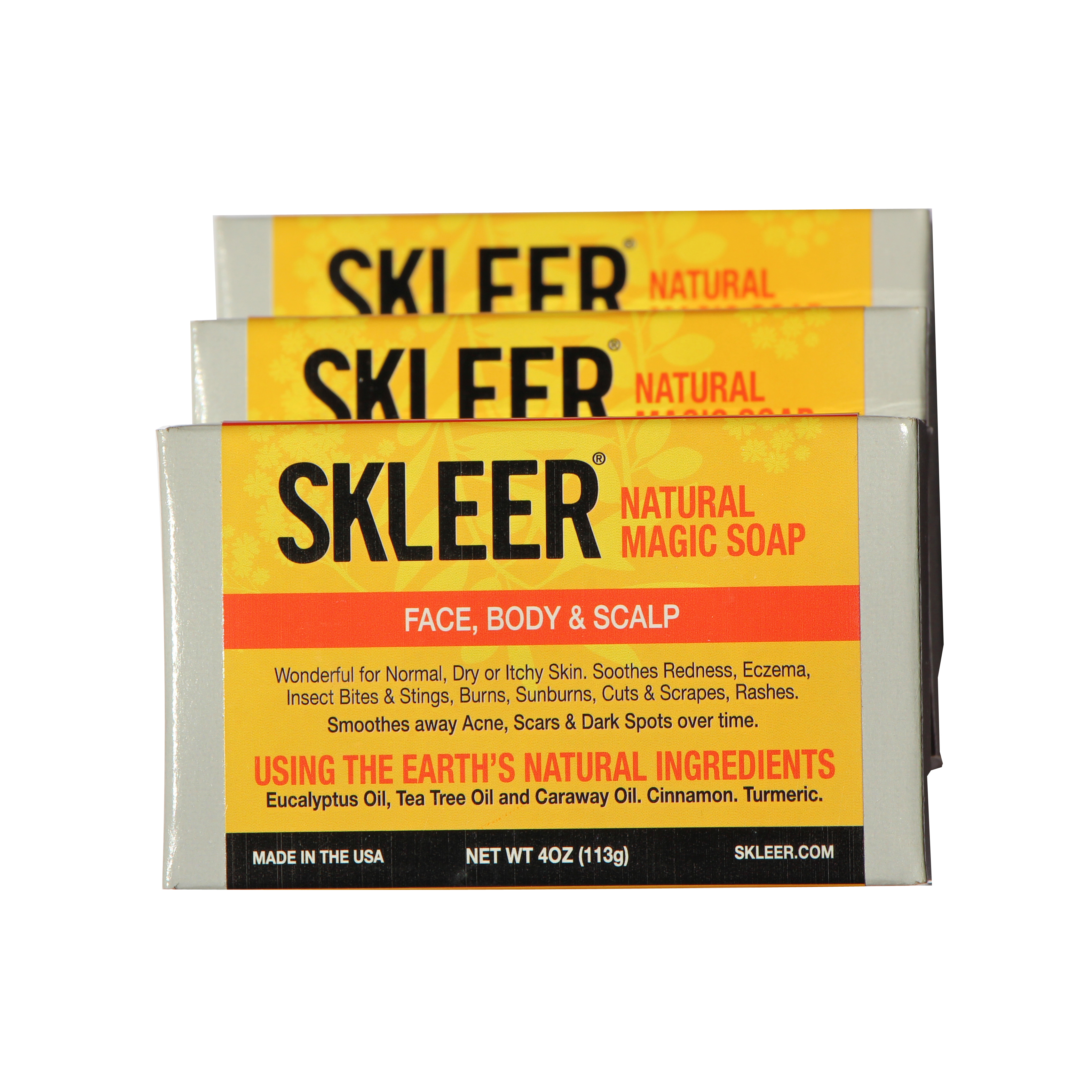 SKLEER – Natural Magic Soap –  Bargain Pack Of 3 X 4oz/113g
